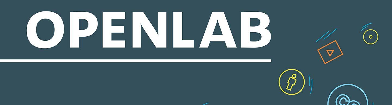 OpenLab-Schriftzug mit hereinfliegenden bunten Medien-Icons auf dunklem Hintergrund