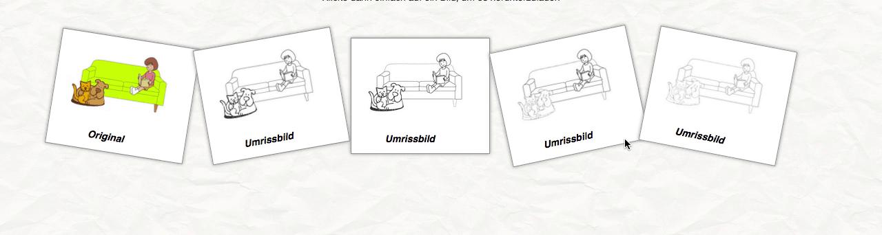 Screenshot der Website umrissbilder.de mit der Bilder in ausmalbare Strichgrafiken kostenlos umgewandelt werden können.
