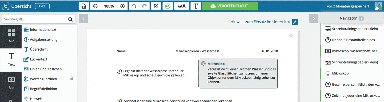Darstellung des Webeditors von Tutory.de und eines öffentlichen Arbeitsblattes.