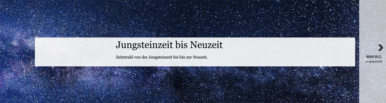Darstellung eines online Zeitstrahls von der Jungsteinzeit bis zur Neuzeit.